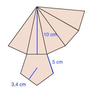 Desarrollo plano de una pirámide pentágona regular - Ejercicios resueltos de área y volumen de pirámides