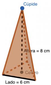 Pirámide triangular regular de lado 6 y altura 8 cm - Ejercicios resueltos de área y volumen de pirámides