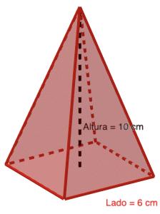 Pirámide cuadrada regular - Ejercicios resueltos de área y volumen de pirámides