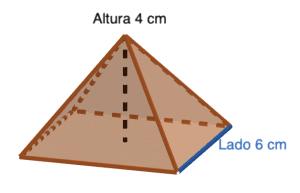 Ejercicios resueltos de área y volumen de pirámides