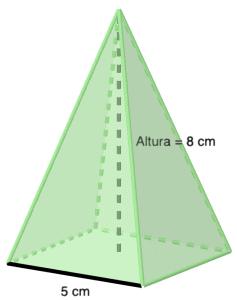 Pirámide cuadrangular regular - Ejercicios resueltos de área y volumen de pirámides