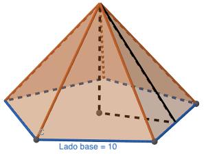 Pirámide pentagonal de 10 cm de lado de la base - Ejercicios resueltos de área y volumen de pirámides